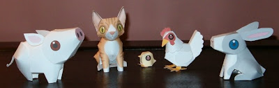 Printable Pig Cat Chicken and Rabbit Paper Models