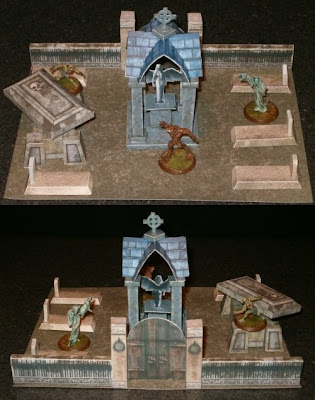 Walled Cemetery Paper Model with Mausoleum and Tombstones