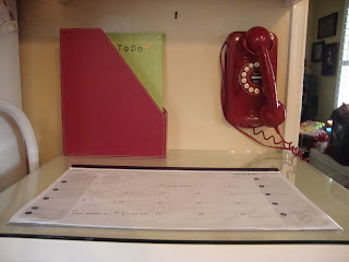 household mail station, home command center, red telephone