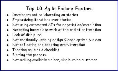 top 10 agile failure reasons