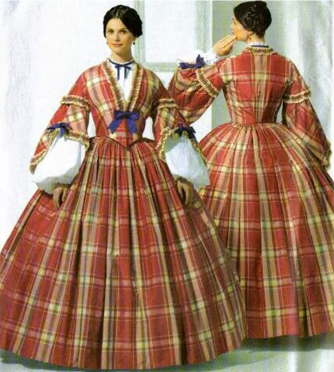 "Time Traveling in Costume: 1850s turquoise plaid dress- My ""Young"