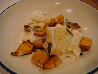 Pasta with goat cheese, roasted pumpkin, shallots, and sage