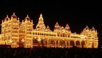 Picture of Mysore Palace during Mysore Dasara Festival in India