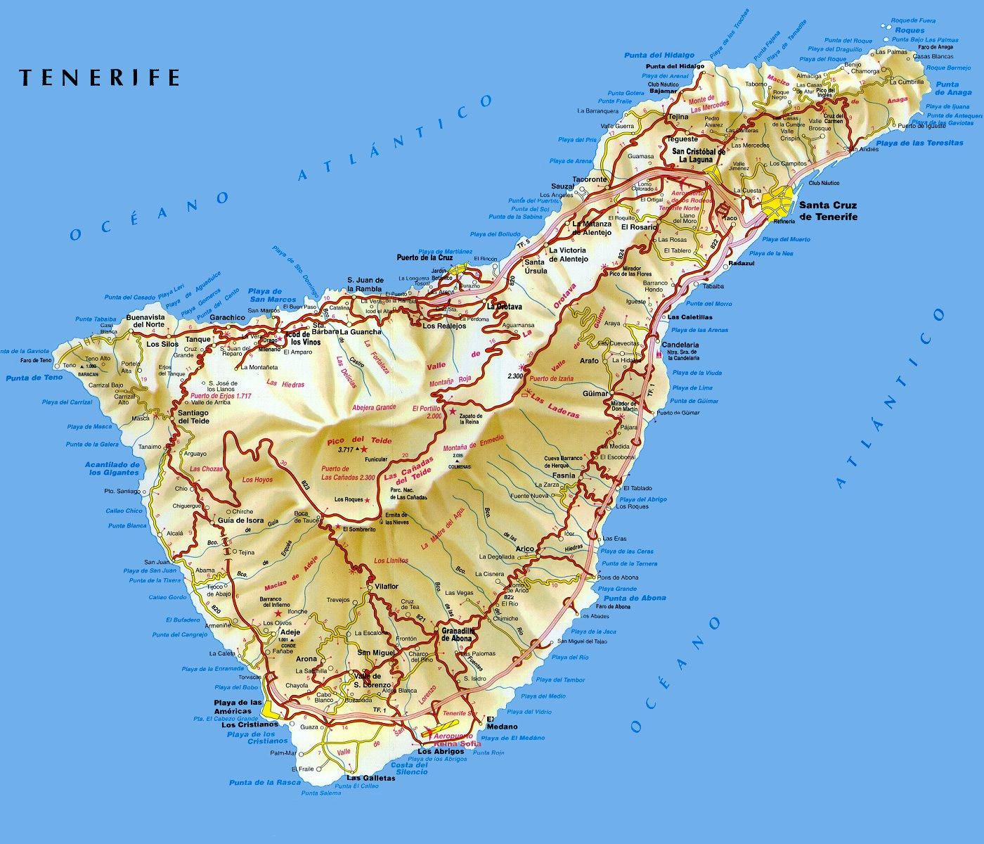 kart over tenerife Ferie Spania Kart kart over tenerife