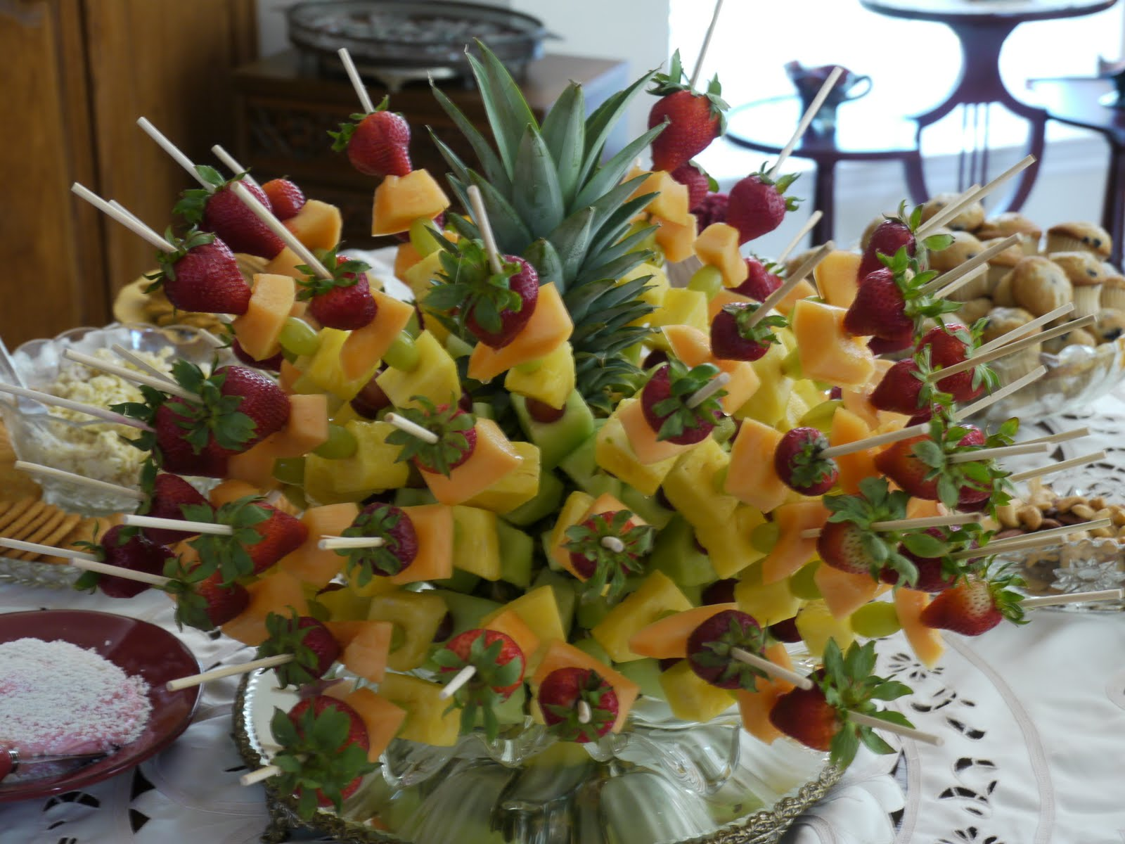 Pineapple Decorations For Kitchen Island Lighting Denise 39s Fruit Kabob Centerpiece