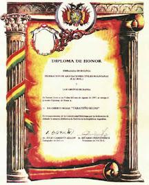 DIPLOMA DE HONOR DE LA EMBAJADA DE BOLIVIA