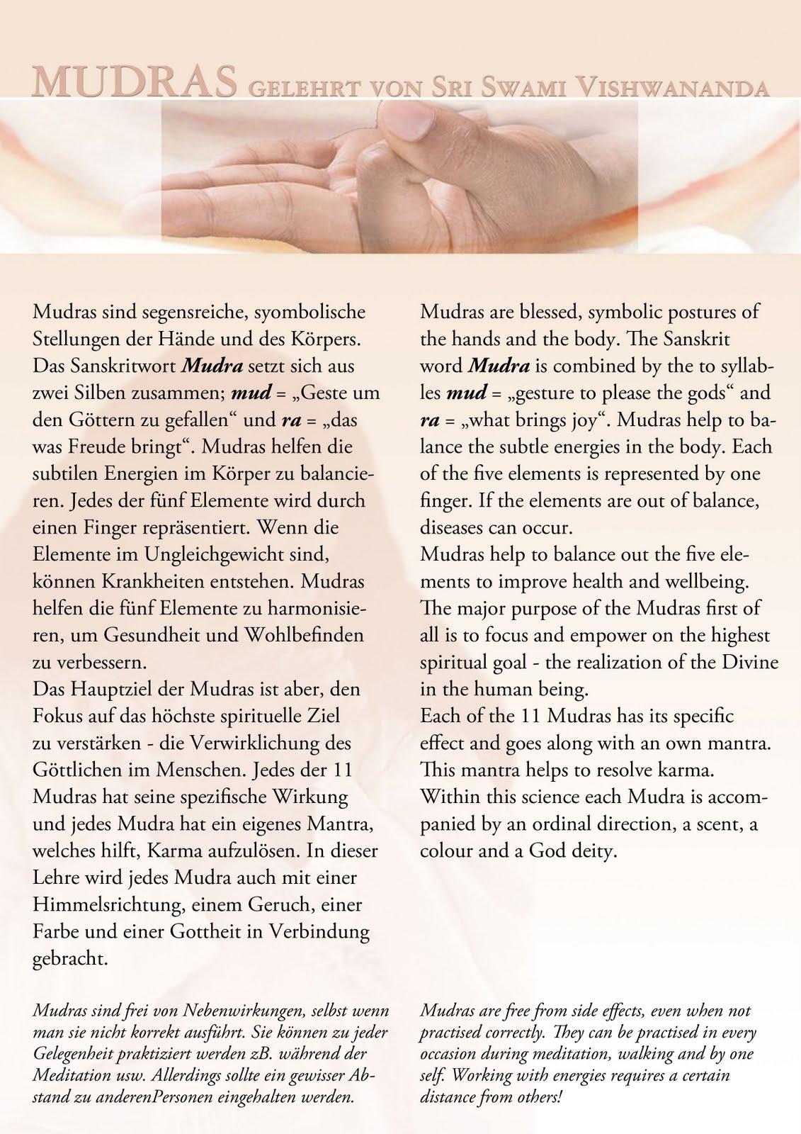 Swami Vishwananda Teachings: Sri Swami Vishwananda - MUDRAS