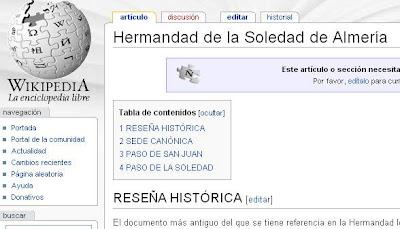 La de la Soledad; la primera Hermandad de Almería que entra en la Wikipedia.