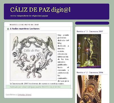 """La revista """"Cáliz de Paz"""" recomienda la visita a este blog"""