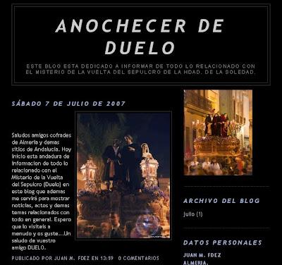 """""""Anochecer de duelo"""", nuevo blog cofrade"""