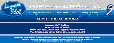The Professional Bum: Registration Info for Singapore Idol 3