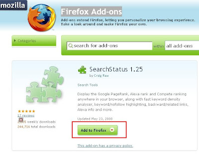 Firefox plugin Google pagerank - SearchStatus