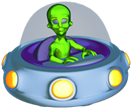 Game Over! Because No One Can Save The Universe - image of an alien in a flying saucer.