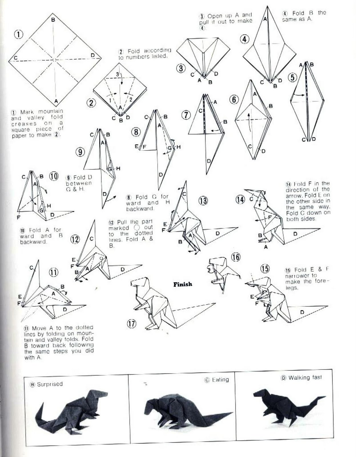 Origami Dinosaurs, a list of online, origami-dinosaur ... - photo#48