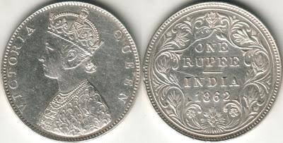1862 half rupee value
