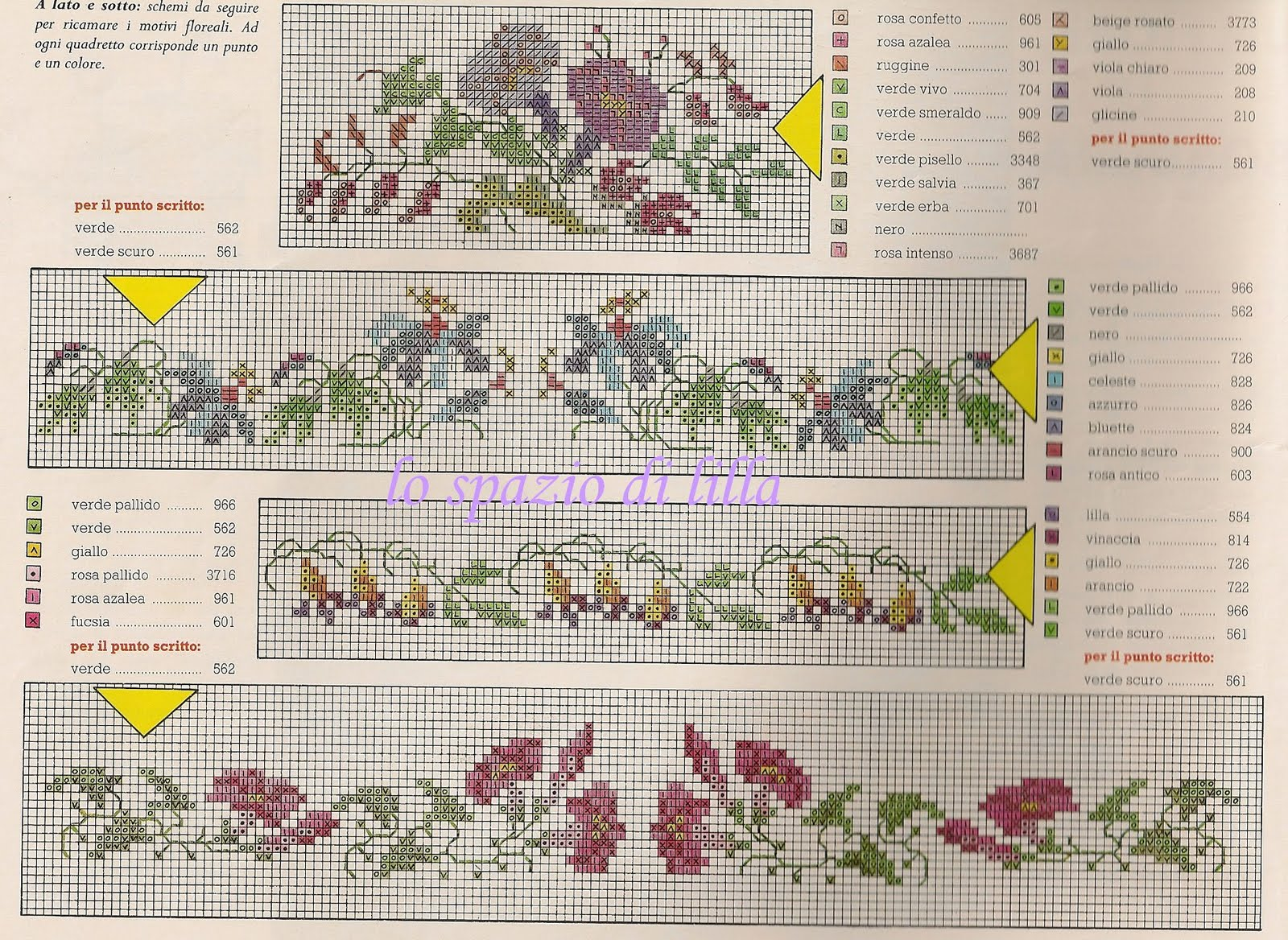 Lo spazio di lilla quattro bei bordi a punto croce for Bordi punto croce