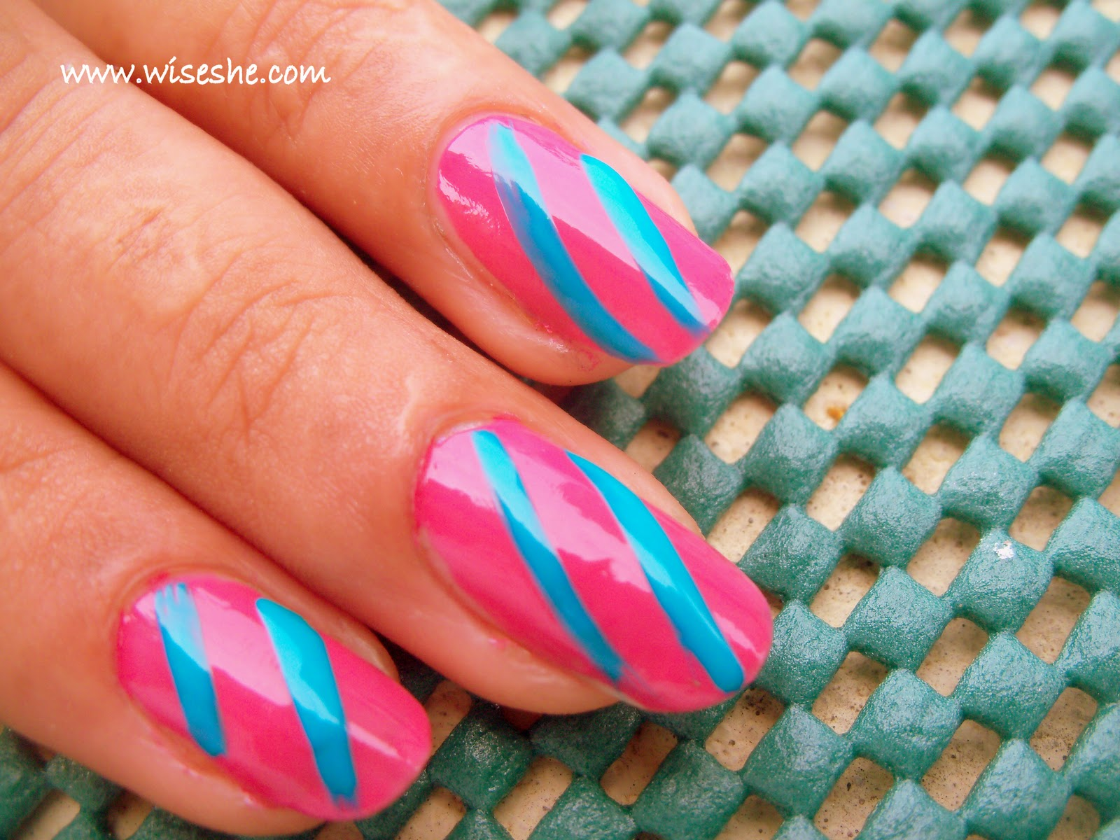 Simple nail art design in Pink and Blue with step by step ...