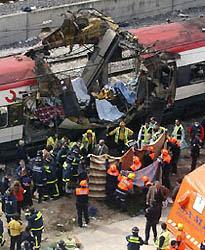Imagen de uno de los trenes afectados por el atentado terrorista perpetrado en Madrid el 11 de marzo de 2004