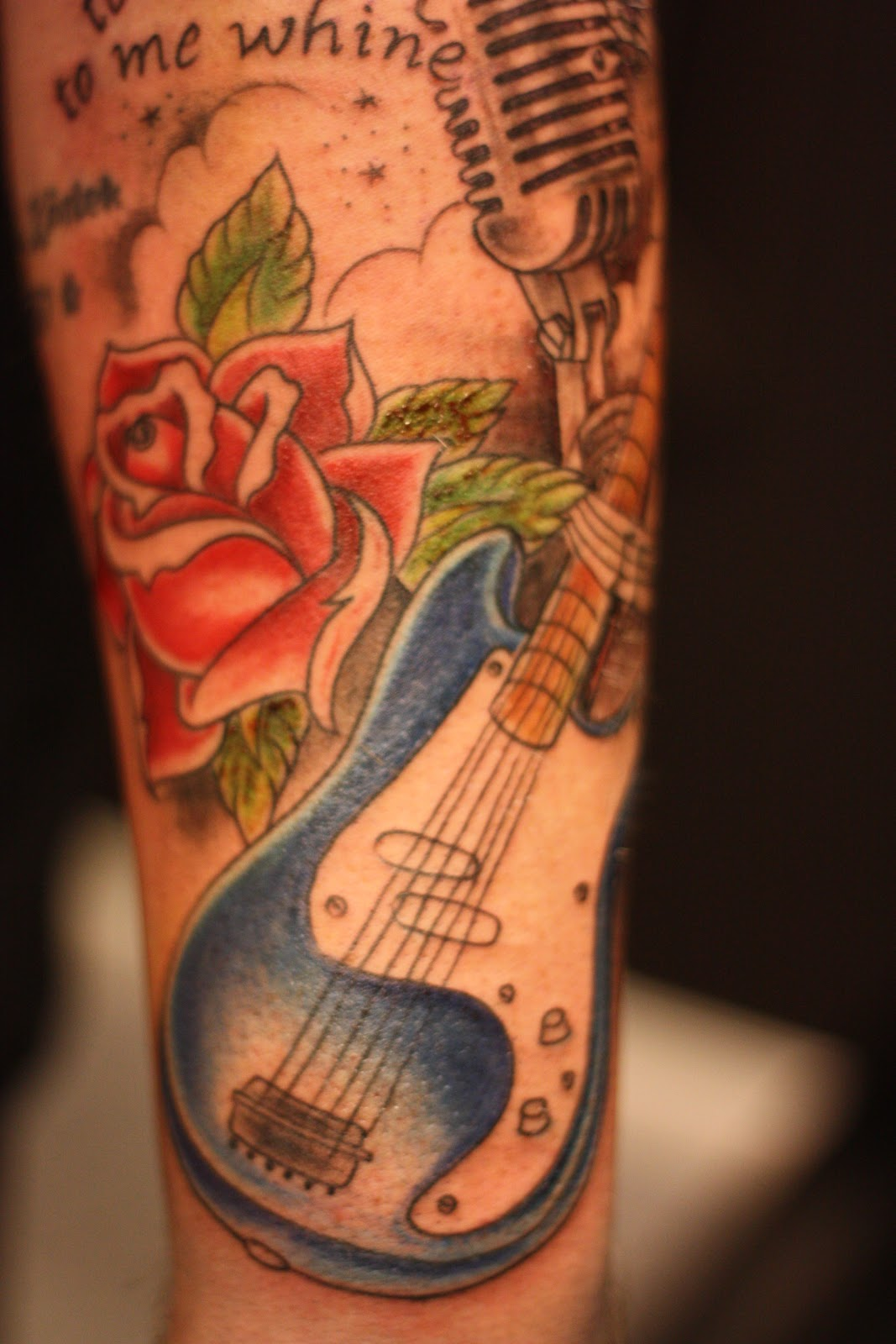 Old school guitar tattoo