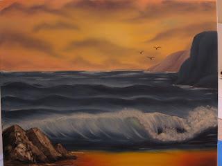 Hooks Needles And Brushes Ocean Sunset Bob Ross Style Painting