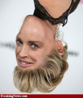 Sharon Stone face+upside down