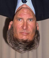 Harrison Ford face+upside down