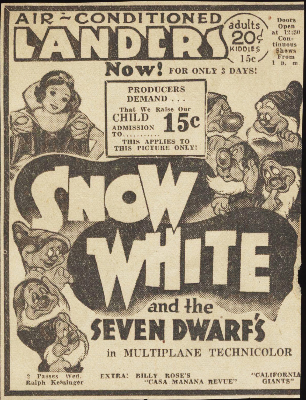 Filmic Light Snow White Archive Theatre Ads