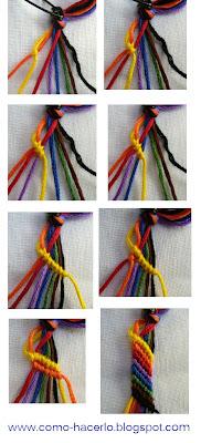 Aquí teneís más instrucciones para hacer pulseras de hilo. En este tutorial teneís fotos de como hacer pulseras con hilo paso a paso.
