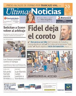 Ultimas Noticias, publicado em Caracas, Venezuela