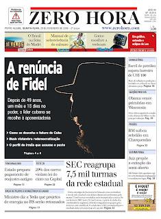 Zero Hora, publicado em Porto Alegre, Brasil