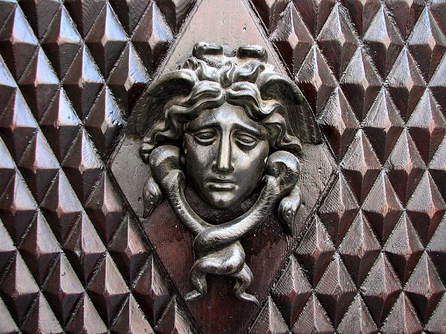 Ornate front door handle, Medusa head with snakes, Livorno