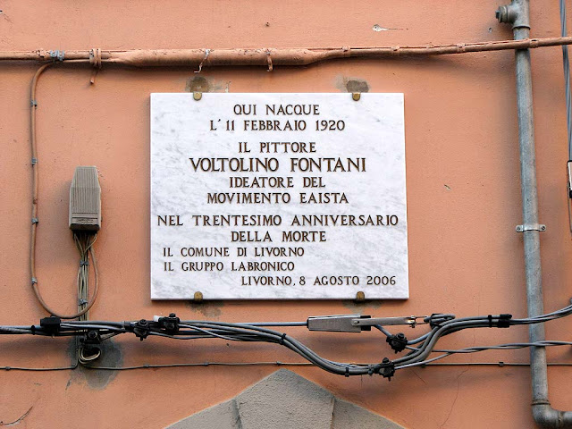 Voltolino Fontani birthplace, plaque, Livorno