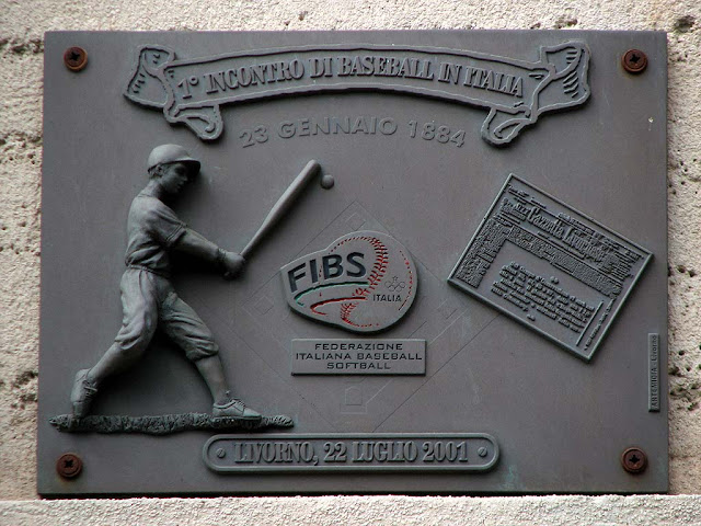 Plaque remembering USS Lancaster and USS Quinnebaug 1884 baseball match, Livorno