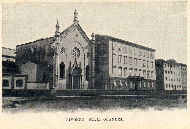 Old postcard of the Dutch church, Livorno