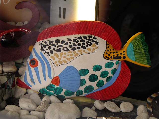Colorful fish, shop window, Livorno