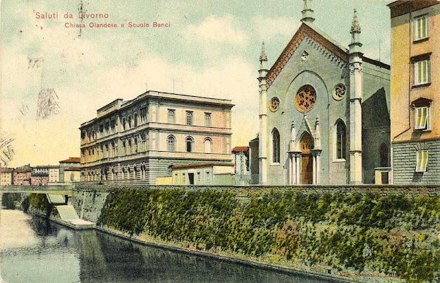 Dutch Church Livorno, old postcard