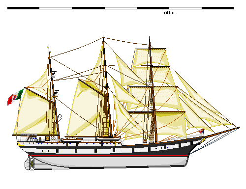 Palinuro training ship, drawing