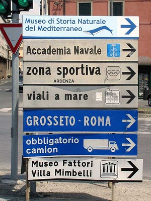 Direction signs, port of Livorno