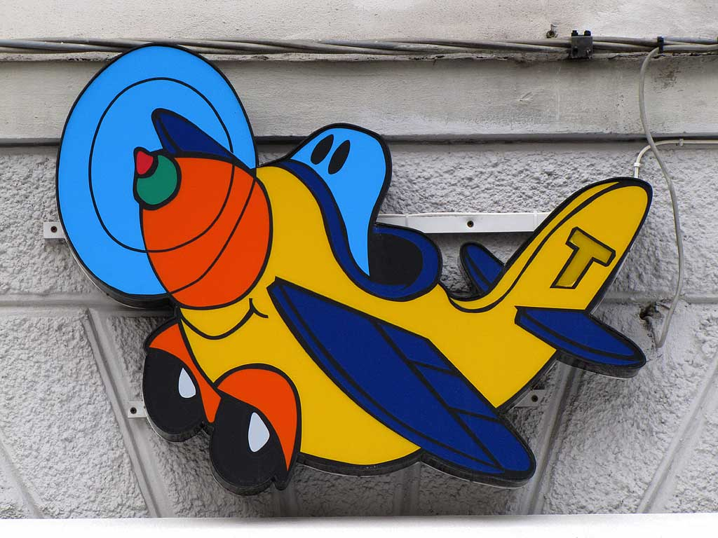 Toy plane, shop sign, Livorno