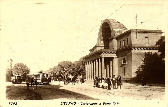 Old postcard, Cisternone by Pasquale Poccianti, Livorno