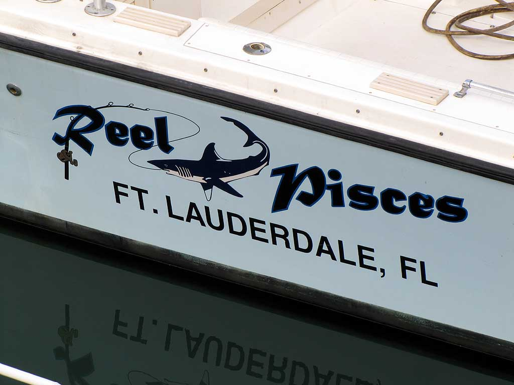 Reel Pisces ad on a boat, Livorno