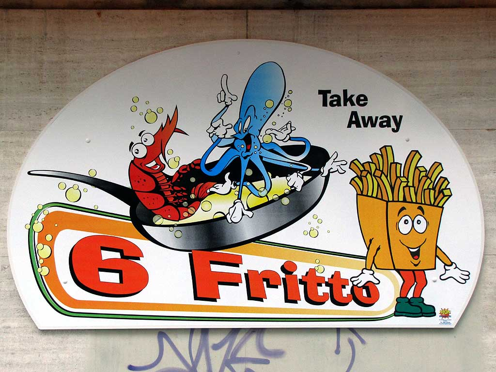 Sign, fried food shop, Livorno