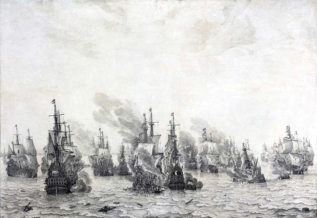 The Battle of Livorno (Leghorn) by Willem van de Velde the Elder, 1655