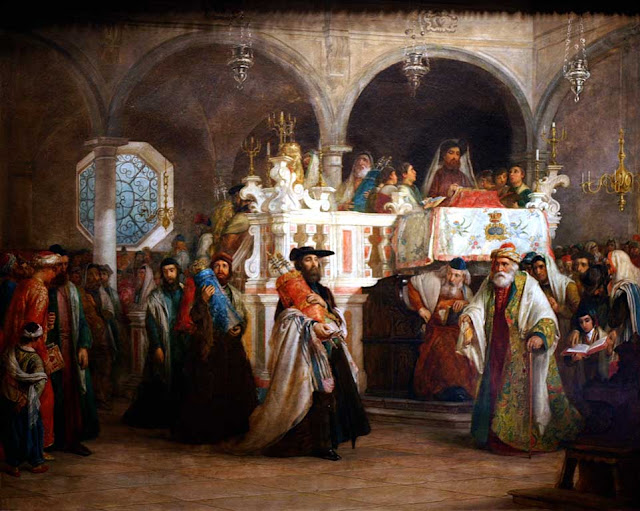 The Feast of the Rejoicing of the Law at the Synagogue in Leghorn by Solomon Alexander Hart