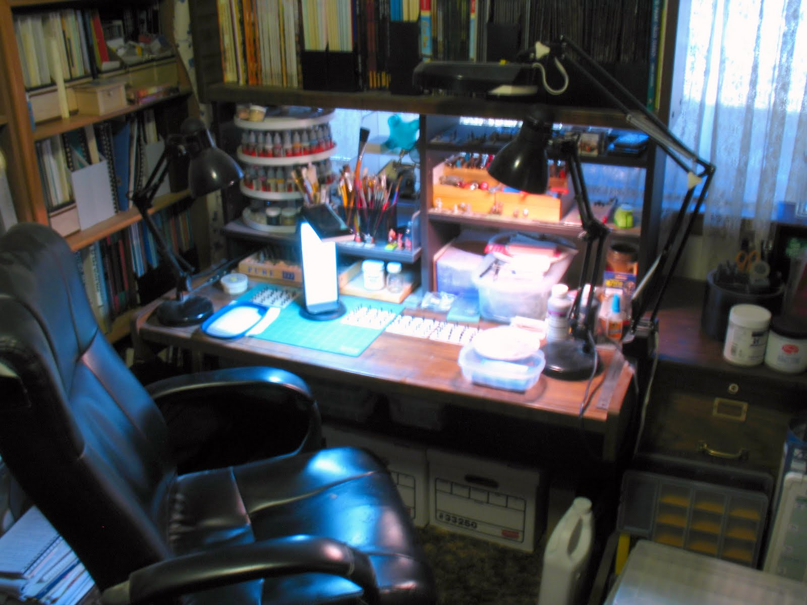 Finally Here S A Broader View Of The Painting Desk Which Really Only Shows That When Just One Daylight Lamps And Ott Light Are On
