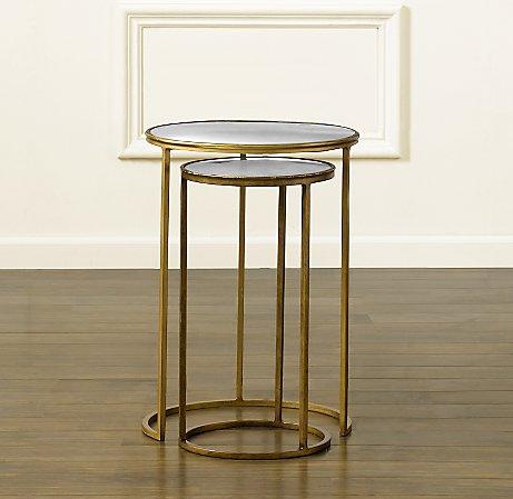 Round nesting tables with Églomisé mirror glass tops