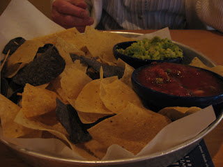 Blue and Yellow Corn chips with Guac and Salsa