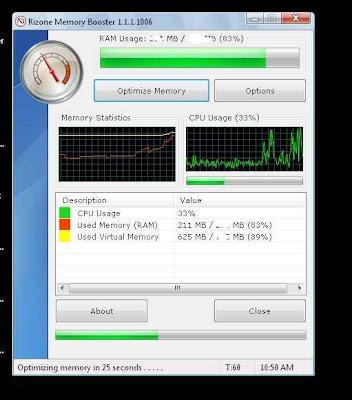 Rizone Memory Booster - programa para mejorar el rendimiento de tu pc