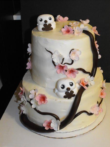 Cherry Blossom Snow Barn Owl Cake Sin Citysweets Com