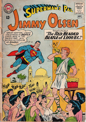 Jimmy Olsen performing for a group of ancient Israelite groupies